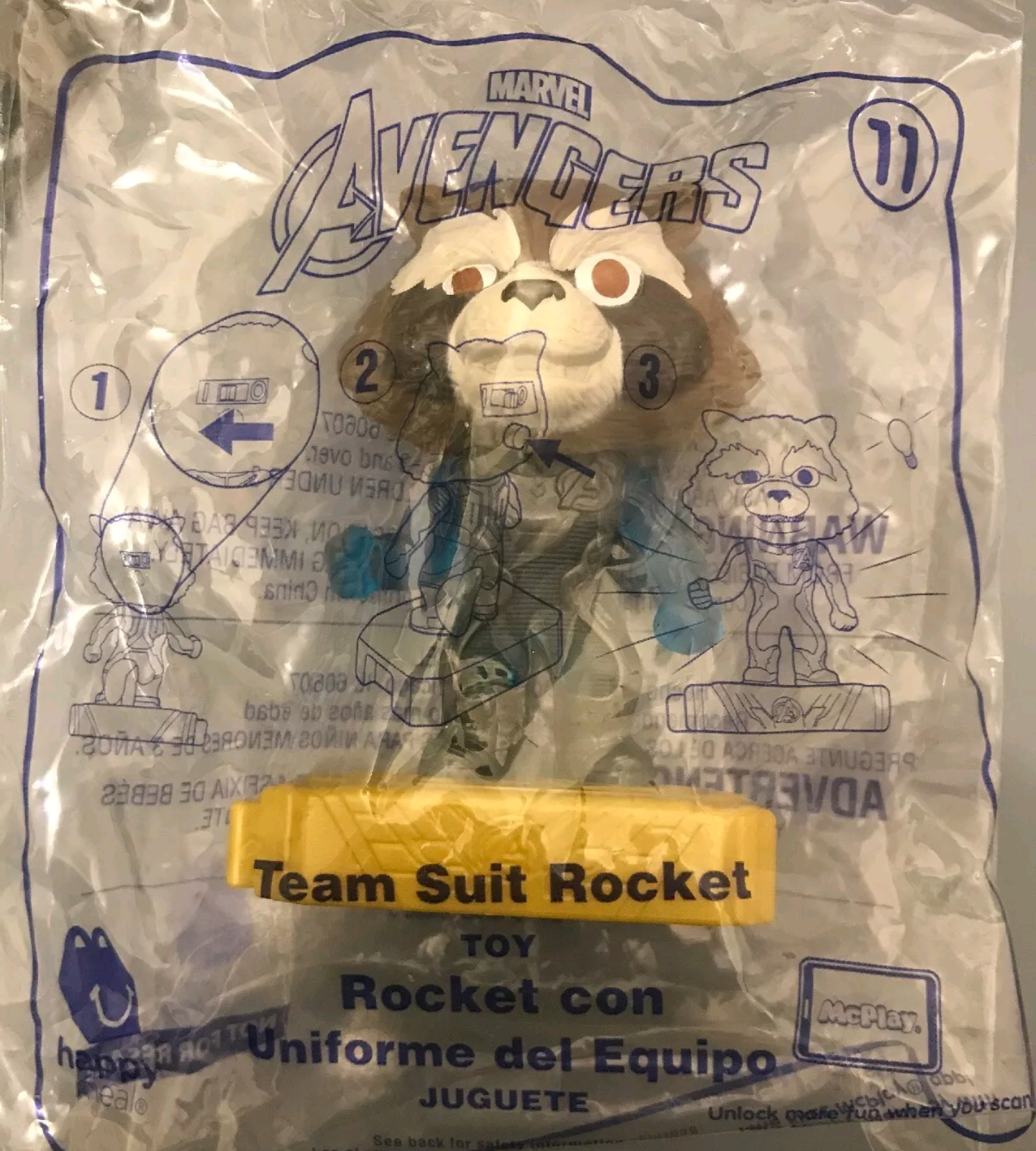 McDonalds 2019 Marvel Avengers Happy Meal Toy - Brand New in Sealed Package #11 Team Suit Rocket