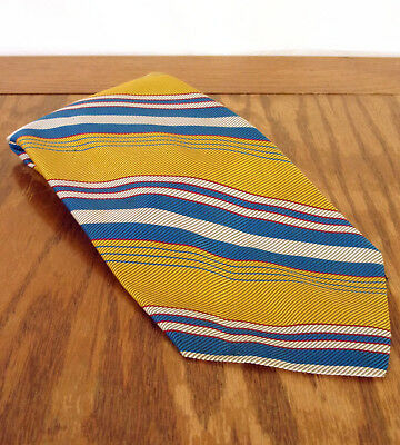 VTG Yellow/Blue Stripe Halloween/Clueless/Harry Potter Poly NeckTie 57