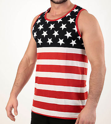 American Flag Tank Top - MEN'S USA. FLAG TANK TOP AMERICAN PRIDE STARS AND STRIPES SLEEVELESS TEE SHIRT