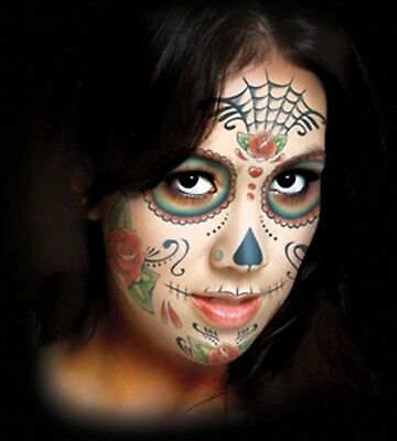 Sugar Skull Day of the Dead Face Temporary Tattoo Tinsley FX makeup - Sugar Skull Makeup