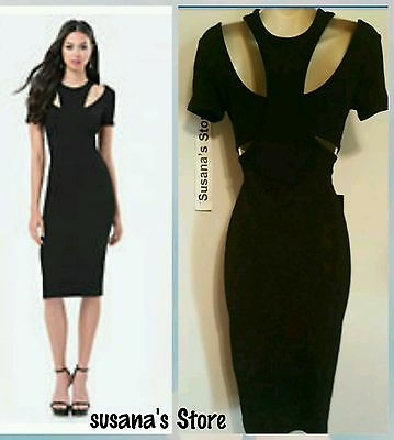NWT BEBE IDINA DOUBLE KNIT DRESS SIZE S Showstopping SEXY BLACK dress!!