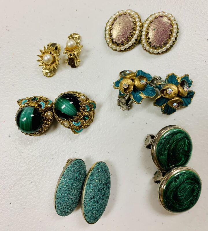 Vintage West Germany Blue Ornate Clip On Earrings Lot