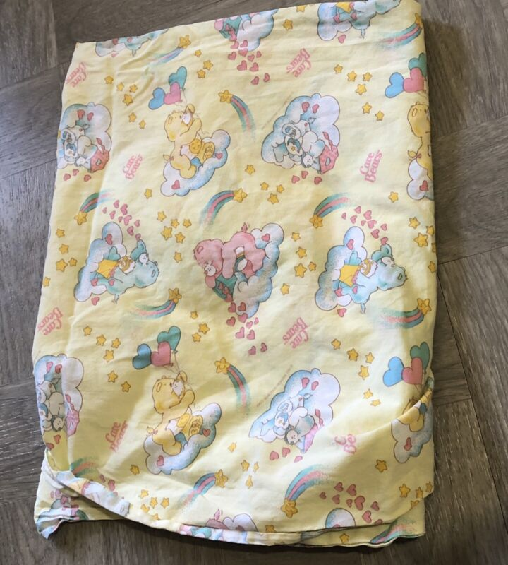 Vintage Care Bears crib fitted sheet American Greetings fabric  1983