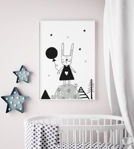 Scandinavian Rabbit Nursery Art For Boys / Girls Bedroom / Kids Scandi Decor