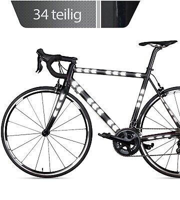 Reflektoren Aufkleber Set für Fahrrad, Helm, Kinderwagen in schwarz 34 Stück