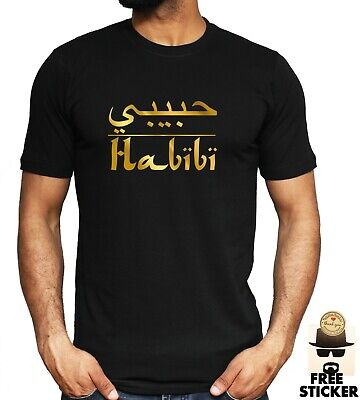 Habibi Arabic Writing T shirt My Love Husband Gift Present Top Mens Tee S - 4XL