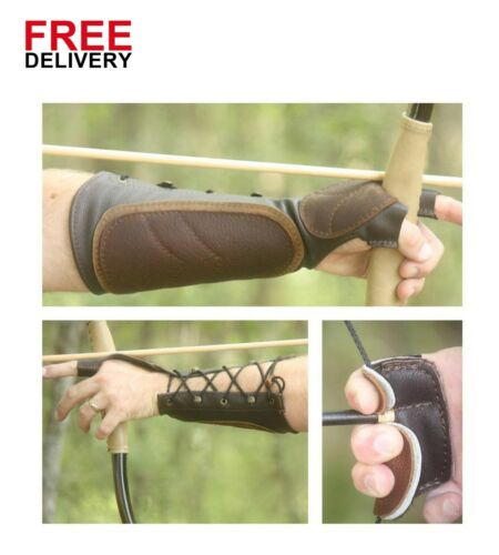 Brown Leather Arm Guard and 3 Finger Shooting Tab