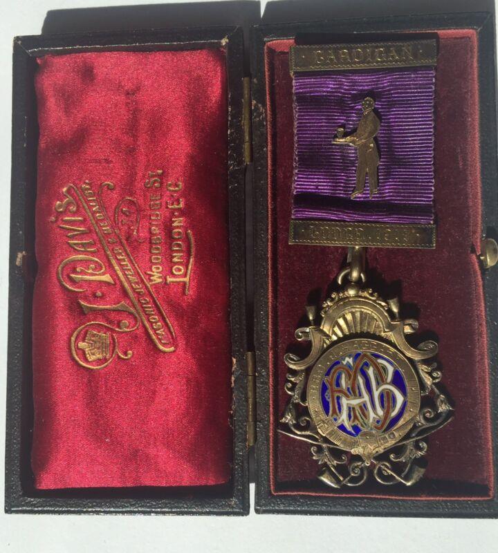 Antique 1911 Cardigan Lodge Sterling Silver Award Ribbon Masonic Medal In Box