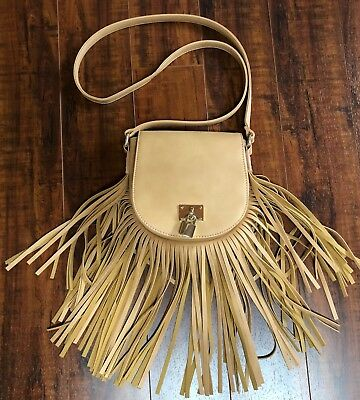 BoHo Hippie CHIC Faux Leather Camel Lock Fringe Cross Body Bag Purse
