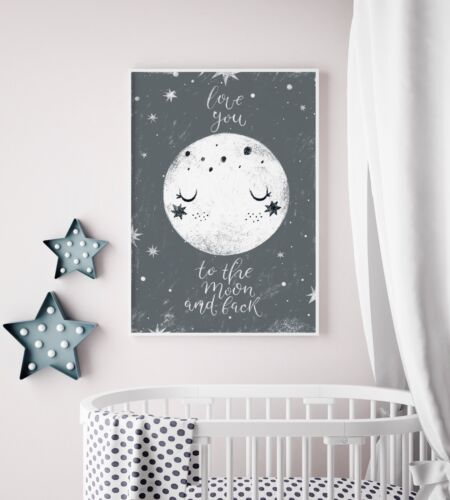 Love You To The Moon and Back Grey Nursery Art / Picture Print / Boys / Girls