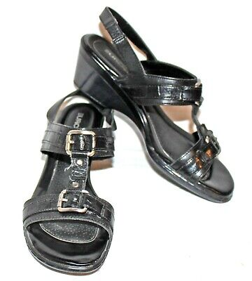 Eurostep 'Ramona' black Leather Stacked Wedge Heel T-Strap Sandals Size 7.5M