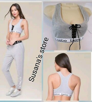 NWT bebe Logo Lace Up Sports Bra SIZE L Sexy, very detailed!!.