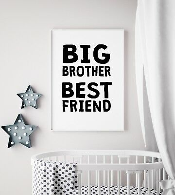 Big Brother Best Friend Black Funky Kids Boys Play Room Nursery Wall Art