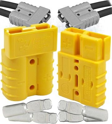 2x Anderson Sb50 50 Amps Connector 12v Yellow 2 Pole Housing W 8 Awg Contact