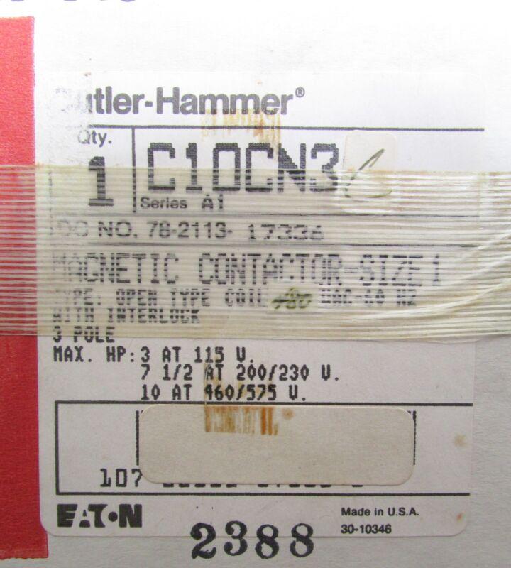 EATON CUTLER HAMMER Contactor C10CN3C Size 1 480V