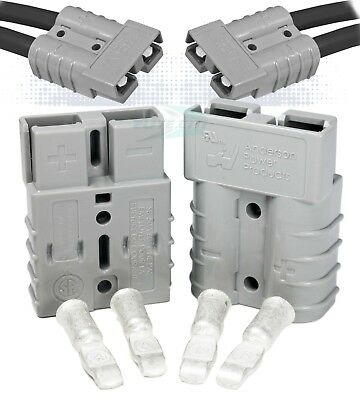 50 Amps Anderson Sb50 Connector Kit 36v Gray Housing 10-12 Awg 6319 2-set