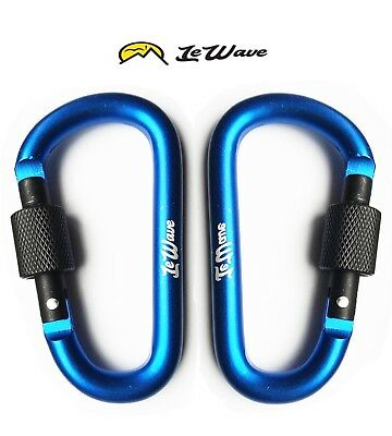 Carabiners (Set of 2) D-Ring Hooks - Screw Lock -Superior Clips BLUE LeWave