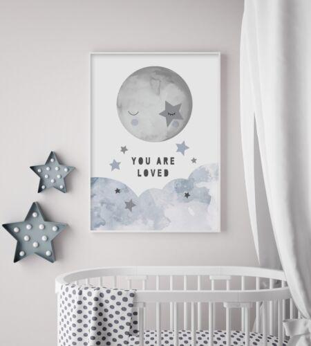 Whimsical Sky - Nursery Print - Wall Art - Baby Room - Boys Bedroom - Moon Stars
