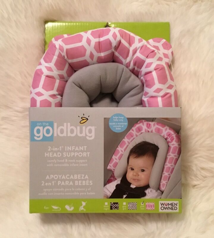 Goldbug 2-in-1 Infant Car Seat Head Support Pink, White