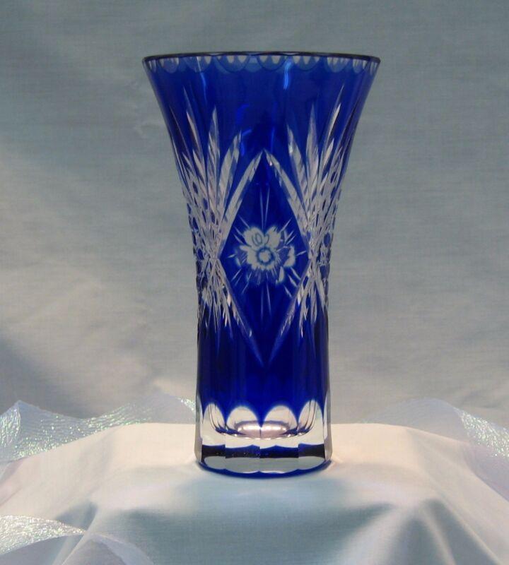 Cobalt Blue Large Handcut Glass Vase