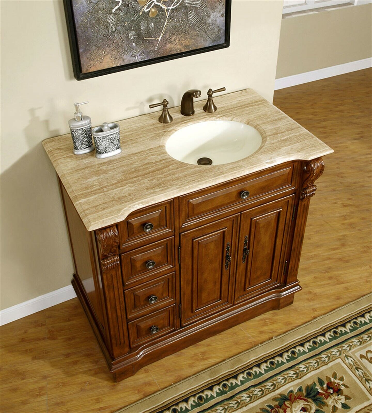 38-inch Travertine Top Bathroom Vanity Cabinet (Single ...