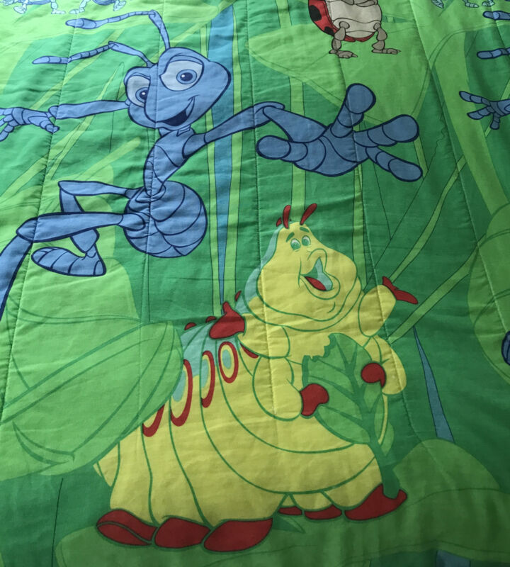 Vintage Disney A Bug's Life Twin Reversible Comforter -RARE- Boys Bed Blanket