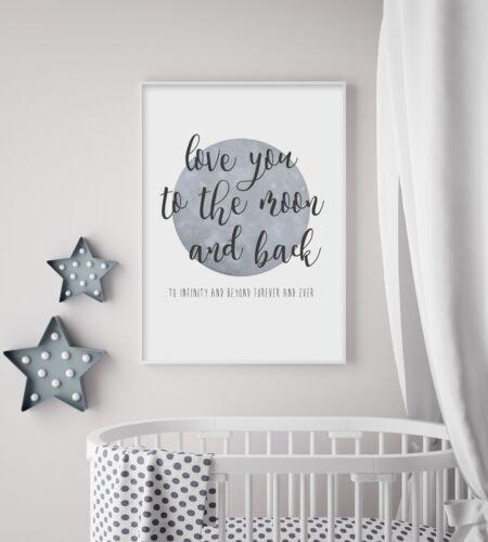 To The Moon & Back (Grey) - Nursery Print - Baby Room - Wall Art - Kids Bedroom