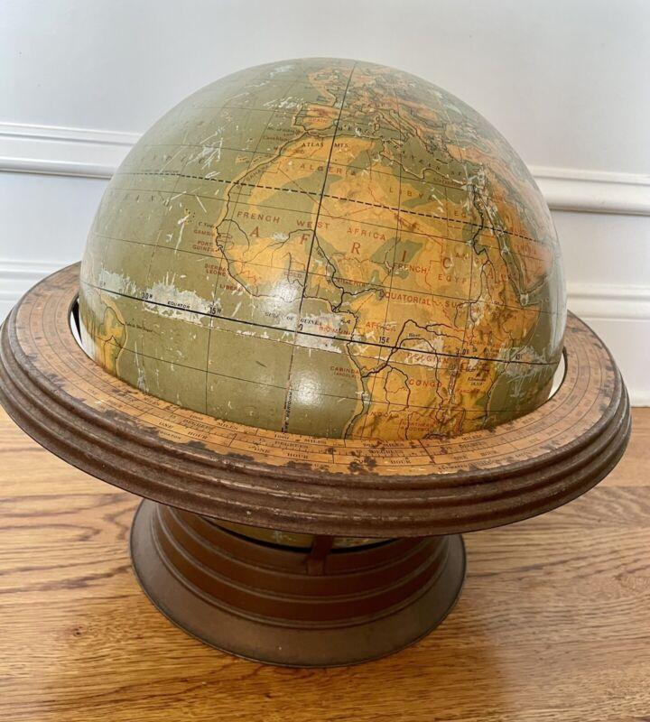 "Vintage 1948 CRAMS 12"" Physical Terrestrial Globe Airliner Speed Base Map Atomic"