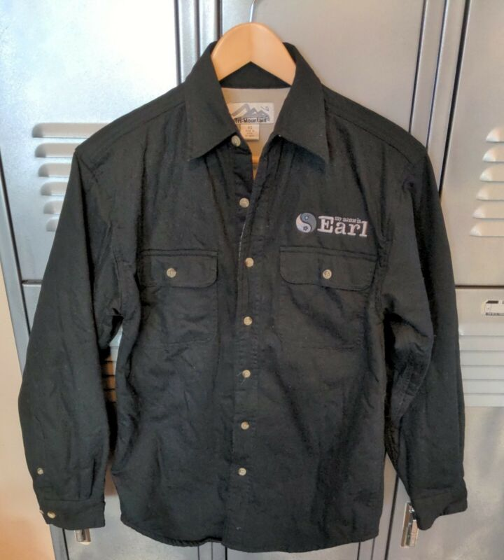 2005 My Name is Earl TV Show Promo Cast Crew Black Button Up Fleece Lined Shirt