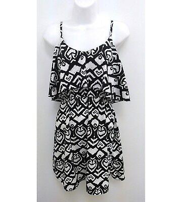 Indulge GoGo Apparel Womens Medium Sundress Black White Geometric Flirty  B10