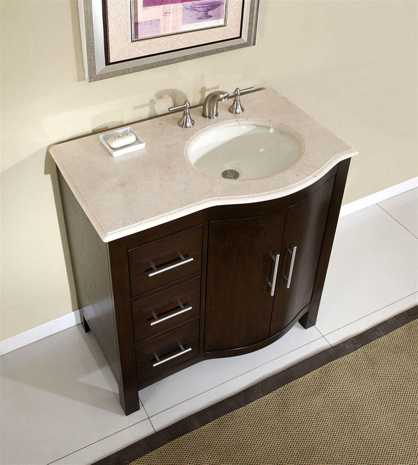 36 Cream Marble Top Bathroom Vanity Single Sink Cabinet Off Center 912cm R Ebay