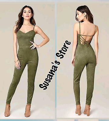 NWT bebe Camryn Strappy Jumpsuit SIZE XL Soft faux suede, very sexy $102