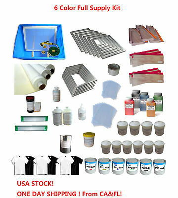 6 Colors Screen Printing Materials Full Set Silk Printing Press Supply Kit Us