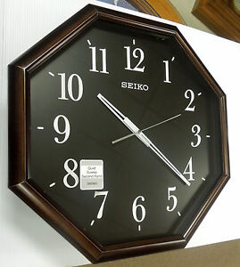 seiko large octagonal wall clock with dark surround and