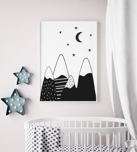Scandi Mountains Print / Picture for Nursery / Boys Girls Bedroom / Monochrome