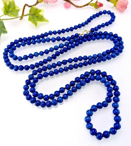 Vintage Long Hand Knotted Blue Speckled Glass Bead Flapper Necklace, 9CT Clasp