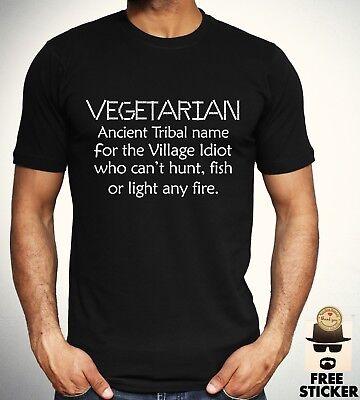 Vegetarian Village Idiot T shirt Funny Joke Vegan Tee Mens Women Gift Top S- 4XL