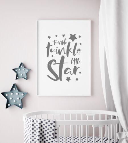 """""""Twinkle Twinkle Little Star"""" Grey Nursery Art Print / Picture For Kids Bedroom"""