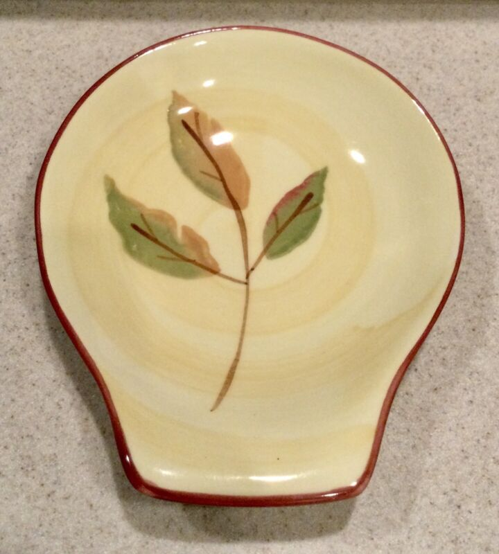 """HARTSTONE Pottery SPRING LEAVES 6"""" SPOON REST"""
