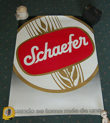 Vintage Schaefer Beer in Spanish Poster 24 x 33