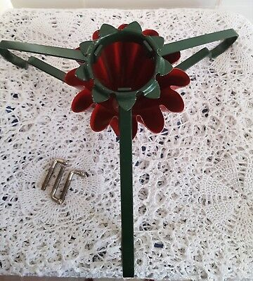 Vintage S-B Manufacturing Co Metal Christmas Tree Stand Milwaukee Red Green