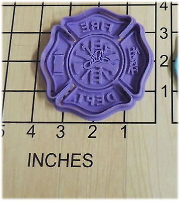 Fire Fighter Shield Cookie Cutter and Stamp #1078 (Shield Cookie Cutter)