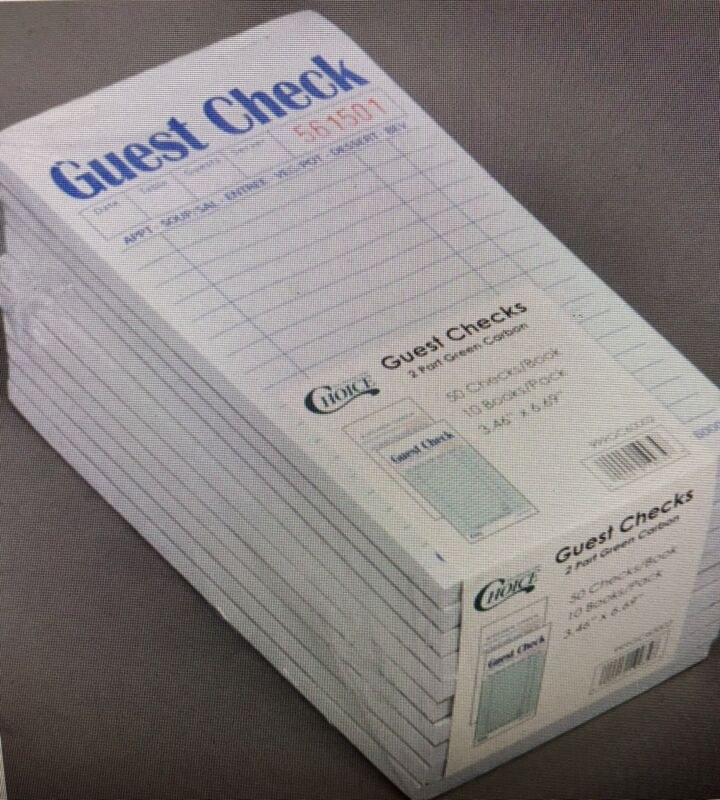 500 GUEST CHECKS - CHOICE 2 PART GREEN AND WHITE CARBON - 10 PACKS OF 50 - NIB