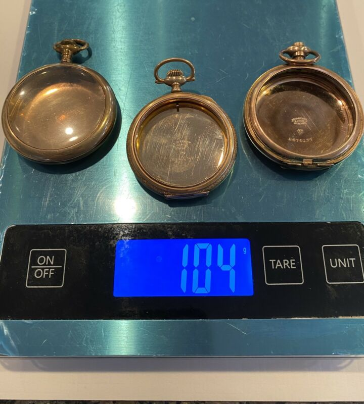 95 Gr Lot 3 Large Pocket Watch Cases Gold-Filled 15-20-25 Yrs. Warranted SCRAP
