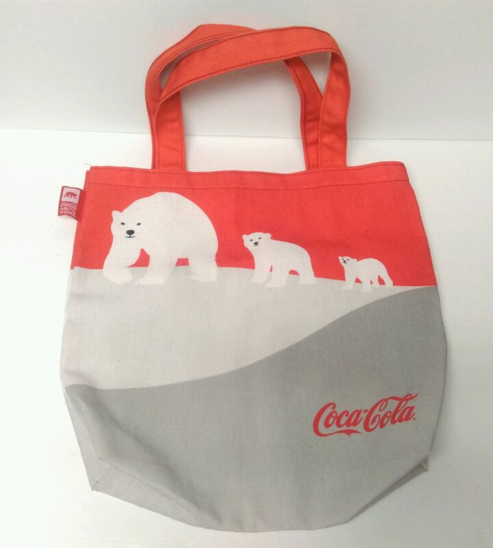 Coca-Cola Coke Arctic Home Polar Bears family recycled canvas tote hand bag