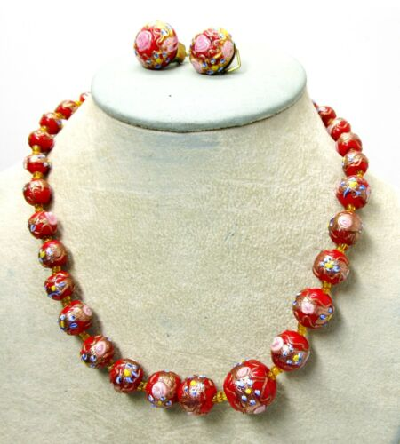 """Red Lampwork Bead Choker Necklace 17"""" and Clip Earrings  - Vintage Set"""