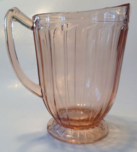 Depression Glass Pitcher Jeannette Glass Sierra Pink Pinwheel Vertical Ribs