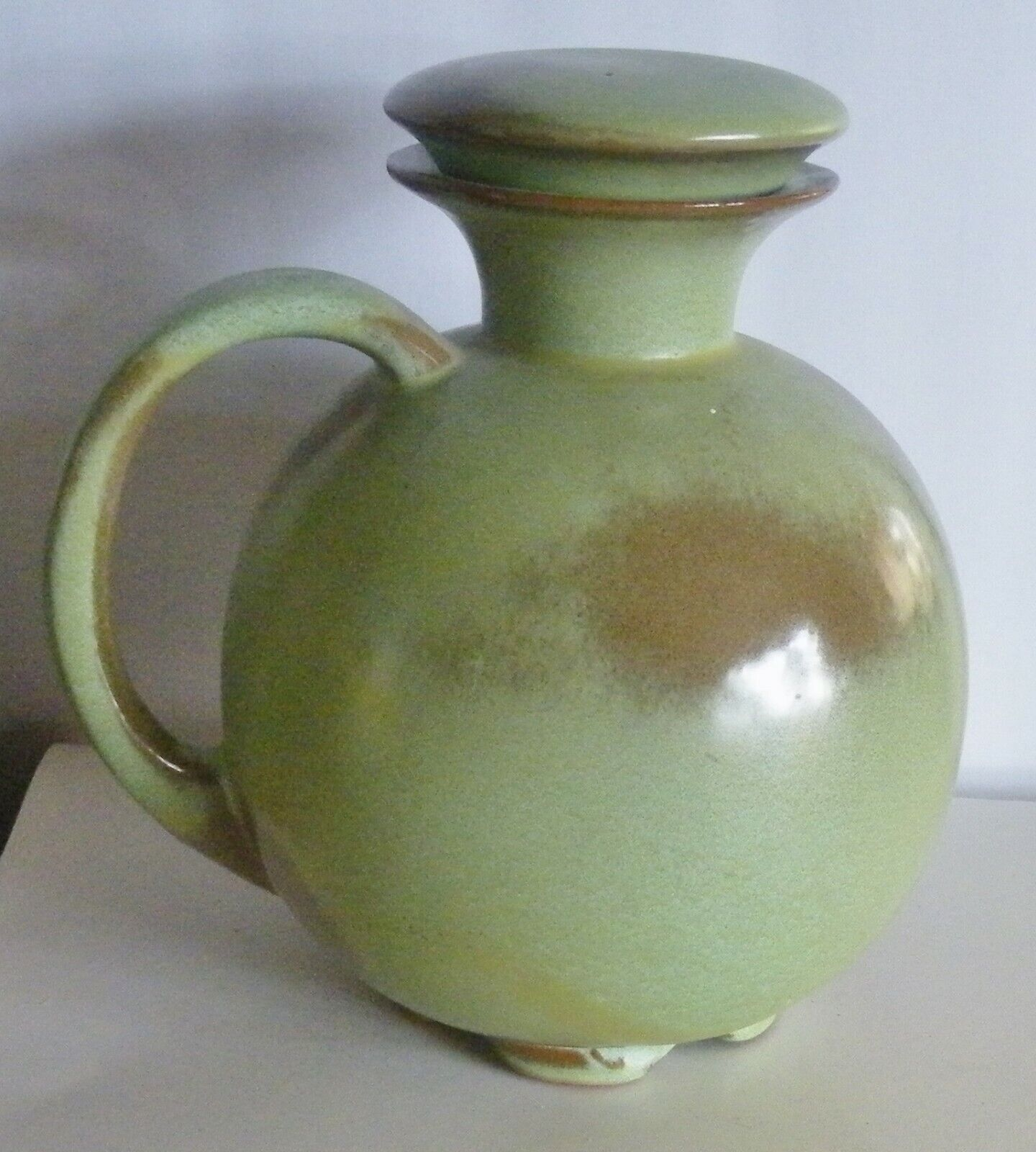 Vintage Frankoma Pottery Prairie Green Carafe Pitcher Decanter Lid 82 EUC 8  - $18.00