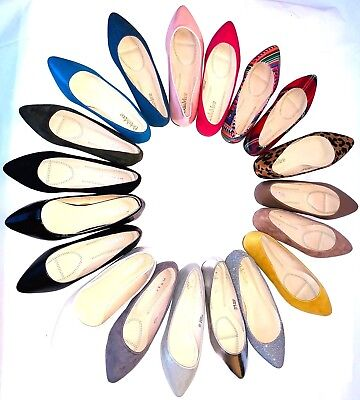 New women lady basic pointy toe  ballet flats slip on loafer  shoes  all colors