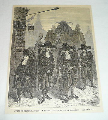 1883 magazine engraving ~ FUNERAL WITH MUTES In Holland